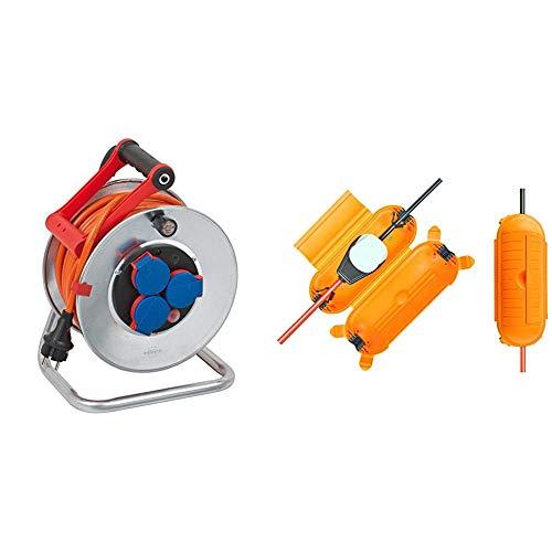 Brennenstuhl Garant S IP44 Kabeltrommel (25m Kabel in orange) & Safe-Box BIG IP44 / Schutzbox für Verlängerungskabel (Schutzkapsel für Kabel im Außenbereich) gelb