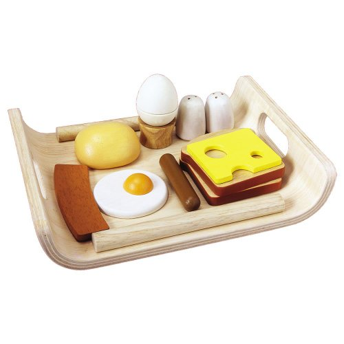 PlanToys Wooden Breakfast Menu Pretend Play Food Set (3415) | Sustainably Made from Rubberwood and Non-Toxic Paints and Dyes
