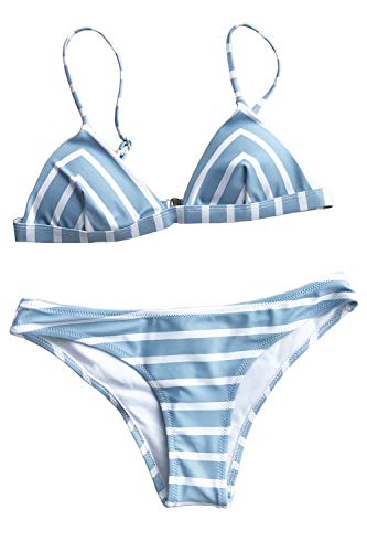 Cupshe Fashion Women Stripe Printing Bikini Set (L), Blue