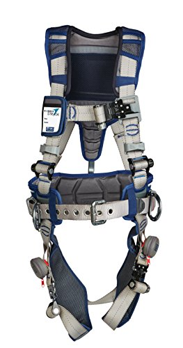 3M 1112537 DBI-SALA ExoFit STRATA, Aluminum Back/Side D-Rings, Tri-Lock Revolver QC Buckles with Sewn in Hip Pad/Belt, Large, Blue/Gray
