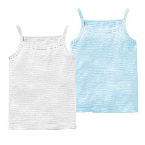 JiAmy Baby Jungen Mädchen Unterhemd, 2er Pack Unterwäsche Baumwolle Hemd ohne Arm Mesh Schlafanzug Weiß+Blau 3-6 Monate