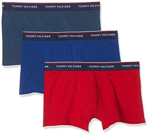 Tommy Hilfiger Herren 3P Trunk Boxershorts, Mehrfarbig (Insignia/Tango Red/Sodalite Blue 050), X-Large (Herstellergröße: XL)