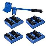 Elevador de Muebles con Ruedas, Juego de Herramientas de Muebles Pesados para Mover Sofás y Refrigeradores Máximo Carga 200 kg/440Libras por Poweka (Azul)