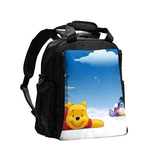 Martha Lattimore Bolsa de pañales Mochila Dibujos animados Winnie Pooh Mochila de viaje multifunción Bolsa de hombro Bolsa de maternidad para pañales con cambiador