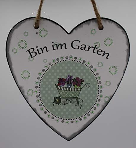 "Herz-Metall-Wandschild\""Bin im Garten\"""