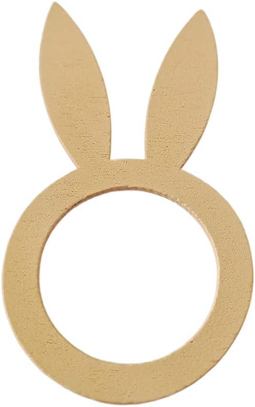 JUMM 10PCS Novelty DIY Department store Rabbit Handmade Nippon regular agency Wood Ring D Napkin Easter