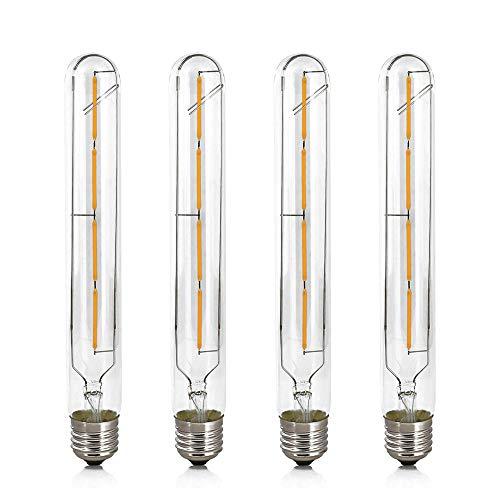 Confezione da 4 Lampadine a Filamento Lungo Tubolare Stile Vintage E27 4W, Sostituisce Lampadine Alogene da 40W, 220-240V AC, 2700K Luce Bianca Calda 400LM