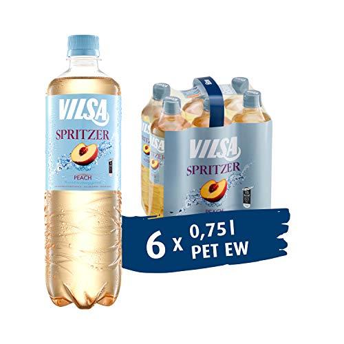 VILSA Spritzer Peach, 6er Pack Mineralwasser mit einem Spritzer Pfirsich, natürliche Kohlensäure, kalorienarm, in Einwegflaschen (6 x 0,75 l PET)