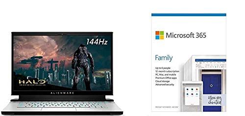 Alienware m15 R3 15.6' FHD 144Hz 7ms 300-nits 72% NTSC color gamut Gaming Laptop, Int + Microsoft 365 Family   6 Users   Box