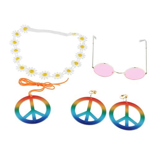 chiwanji Regenbogen Peace-Zeichen Halsketten, Ohrring mit Stirnband und rund Hippie-Sonnenbrille 60er 70er Jahren Hippie-Kostüme - Girlande