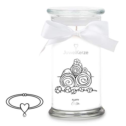 JuwelKerze 'Fluffy Cotton' (Armband) Schmuckkerze große weiß Duftkerze 925 Sterling Silber - Kerze mit Schmucküberraschung als Geschenk für sie/ihn