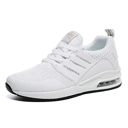 JUXINCHI Herren Damen Sneakers Bequeme Atmungsaktiv Laufschuhe Schnürer Air Profilsohle Sportschuhe Luftpolster Turnschuhe Fitness Leichte Weiß 41 EU (Etikette 42)