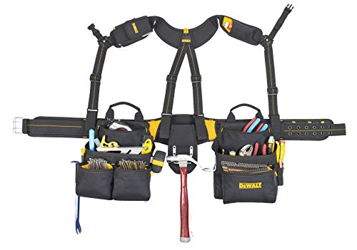 Custom Leathercraft DEWALT DG5617 20-Pocket Pro Framer's Combo Apron Tool Belt and Yoke-style Suspenders Black