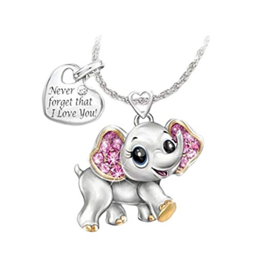 Holibanna Elephant Pendant Necklace Never Forget That I Love You Jewelry for Wedding Valentine Woman Girl Lady Gift