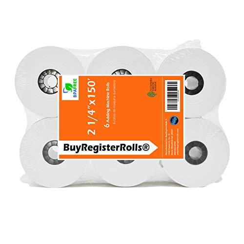 (6 Rolls) 2 1/4 x 150 ft, White, adding machine tape Paper Rolls, Premium One Ply Cash Register/Adding Machine/Calculator Roll Printing Calculator 10 key adding machine tape
