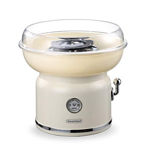Popo Zuckerwatte-Maschine, Retro kleine automatische Fantastische elektrische Haushalts-Mini-Zuckerwatte-Maschine verwendbar für Kinderweihnachtsgeschenkmaschine,Beige