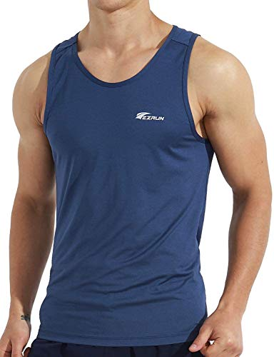 EZRUN Men's Quick Dry Sport Tank Top for Bodybuilding Gym Athletic Jogging Running,Fitness Training Workout Sleeveless Shirts(Blue,m)