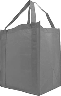 Reusable Reinforced Handle Grocery Tote Bag Large 10 Pack - Gray