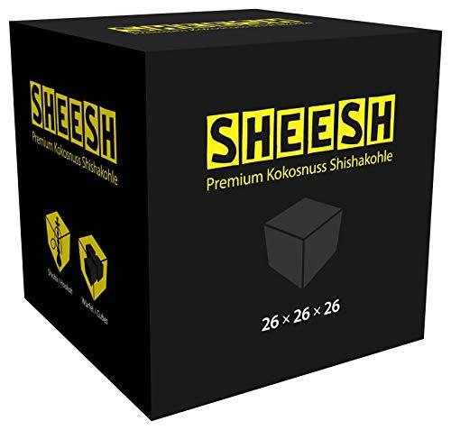 SHEESH by CocoBeach | Premium Kokosnuss Shishakohle | 1KG | 26 x 26 x 26mm Kohle für Shisha & BBQ | Bis zu 120 Minuten Brenndauer | Starke Hitze, kein Eigengeschmack, wenig Asche | Beste Brenneigenschaften dank Naturkohle [Shisha Kohle]