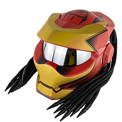 Casco de Motocicleta Predator, Casco Modular de Robot Guerrero de Hierro de Cara Completa, Certificado de Seguridad D.O.T, con Trenza de Pelo antivaho, Unisex,