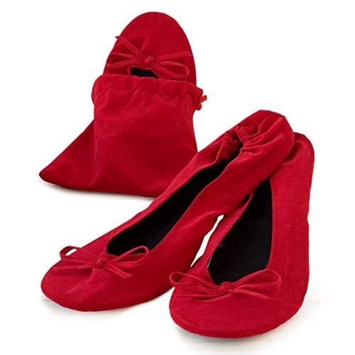 Mopec Zapatillas Bailarinas de Terciopelo Rojo con Bolsa Talla M, Pack de 2 Unidades, 7.00x10.00x10.00 cm