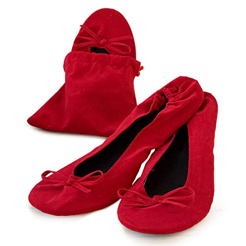 Mopec Zapatillas Bailarinas de Terciopelo Rojo con Bolsa Talla M, Pack de...
