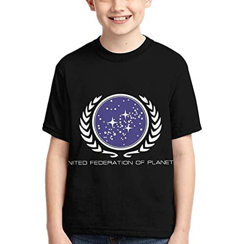 Teenager Soft Shirt Bequemes Polyester Star Trek Kinder T-Shirt Rundhalsausschnitt Classic Teens Kurzarm T-Shirt für Jungen und Mädchen