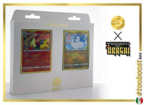 Blaziken 6/70 Holo E Altaria 40/70 Holo #tooboost X sol E & Luna 7.5 Trionfo dei Draghi - Box di 10 Carte Pokémon Italiene + 1 Goodie Pokémon