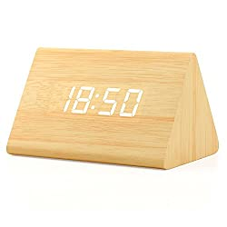 Oct17 Wooden Wood Clock, 2020 New Version LED Alarm Digital Desk Clock Adjustable Brightness, Alarm Time, Displays Time Date Temperature - Bamboo (White Light)