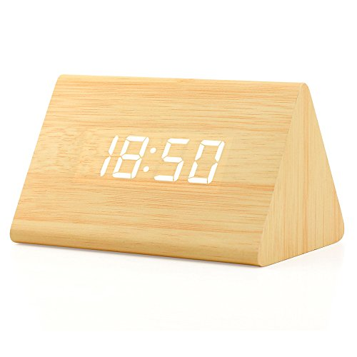 OCT17 Wooden Wood Clock , 2020 New Version LED Alarm Digital Desk Clock Adjustable Brightness, Alarm Time, Displays Time Date Temperature - Bamboo (White Light)
