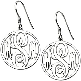 Personalized Monogram Earring Gold Plated Sterling Silver Custom 3 Initials Disc Drop Earrings