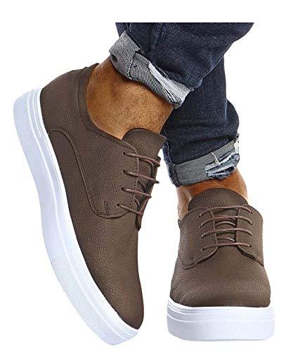 Leif Nelson Herren Schuhe für Freizeit Sport Freizeitschuhe Männer weiße Sneaker Sommer Coole Elegante Sommerschuhe Sportschuhe Weiße Schuhe für Jungen Winterschuhe Halbschuhe LN207 42 Braun