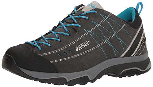 Asolo Women's Nucleon GV Hiking Shoe Graphite/Silver/Cyan Blue 9.5