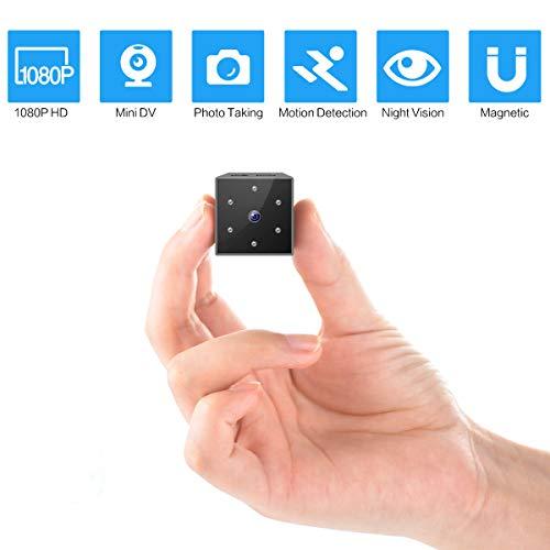 DOSNTO Mini Kamera, HD 1080P Kleine Surveillance Kamera Überwachungskamera mit Bewegungserkennung, Infrarot Nachtsicht und Eingebaute Magnetische für Indoor/Outdoor-Sicherheit Nanny-Kamera