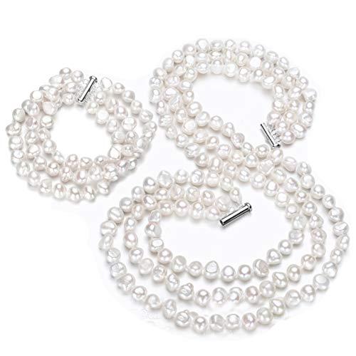 Beautiful 7–8mm naturale perla barocca multi Strand collana, braccialetto e orecchini, donne Pearl set