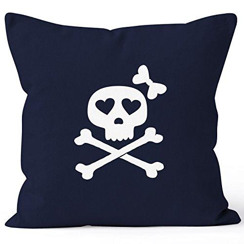 Kissenbezug Kissen-Hülle Deko-Kissen 40x40 Knochen Bones Totenkopf Pirat Baumwolle MoonWorks® navy 40cm x 40cm