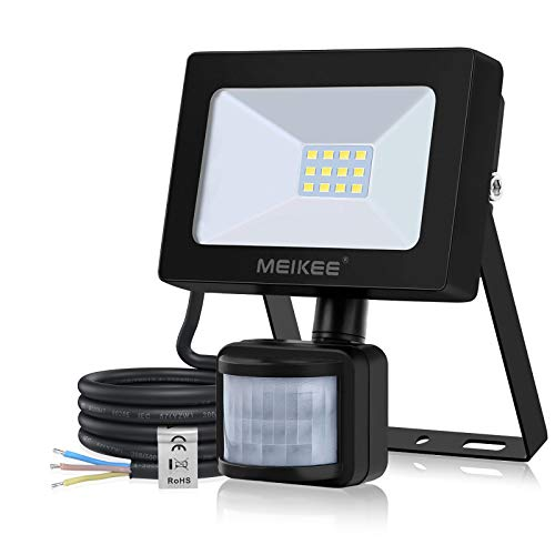 MEIKEE 10W Led Floodlights with Motion Sensor, 1000LM Energy-Saving PIR Security Light IP66 Waterproof Outdoor Wall Light Perfect for Courtyard, Porch, Garage & Warehouse