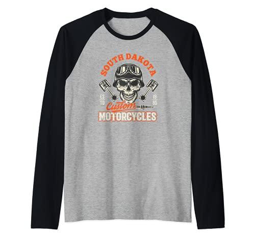 South Dakota Custom Motorcycles Hog Riders Skull Graphic Camiseta Manga Raglan