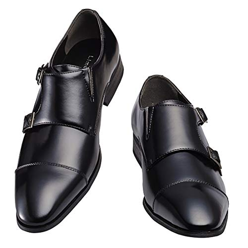 [ライムガーデン] ビジネスシューズ メンズ ダブル モンクストラップ 紳士靴 LG206 (黒,27.0cm)