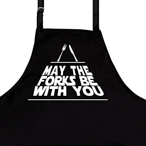 Nomsum Funny Aprons for Men, May The Forks Be with You, One Size Fits All, Premium Quality Kitchen Apron for Men, Ideal BBQ Accessories