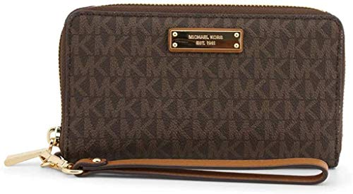 """MK Signature coated twill PVC; lining; polyester 7""""W x 4""""H x 1""""D 7""""L wristlet strap Zip-around closure Exterior logo plate"""