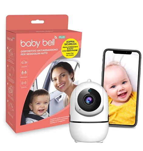 SICURO Kit anti abbandono in auto e a casa: dispositivo anti abbandono Baby Bell PLUS + telecamera intelligente di sorveglianza interno wifi iCam...