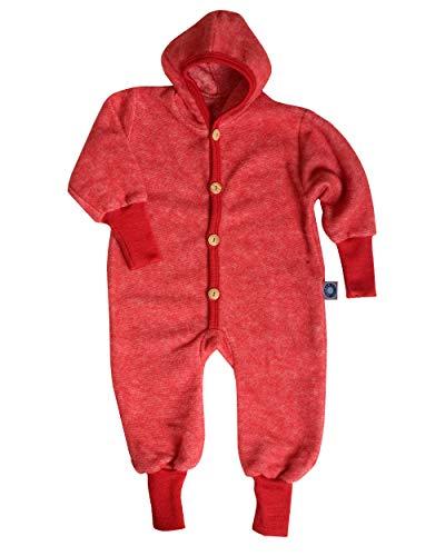 Cosilana Baby Kinder Fleece Overall mit Bündchen am Armen und Füßen, 60% Wolle (kbT), 40% Baumwolle (KBA) (86/92, Rot Melange)