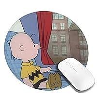 チャーリーブラウンいすに座る マウスパッド 円形 おしゃれ 高級感 ゲーミング オフィス最適 滑り止めゴム底 耐久性が良 付着力が強い 直径20cmx厚い0.3cm
