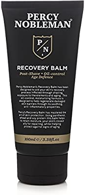 Recovery Balm by Percy Nobleman. Aftershave Balm. Post Shave. Oil Control Moisturiser for Men 100ml, Black