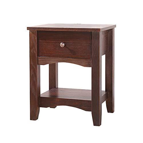 XJLG-Nachttisch Moderne europäische Massivholz Eiche alle Holzstämme Walnuss Nachttisch Schließfächer Schlafzimmer Tisch