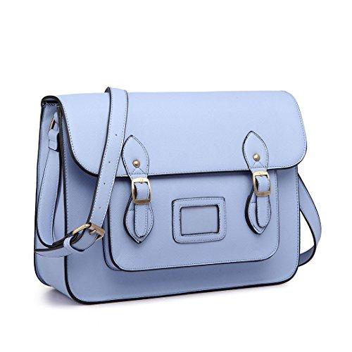 Miss Lulu Vintage School Bag Polka Dot Shoulder Bag Casual Travel Satchel Briefcase for Work (Blue)