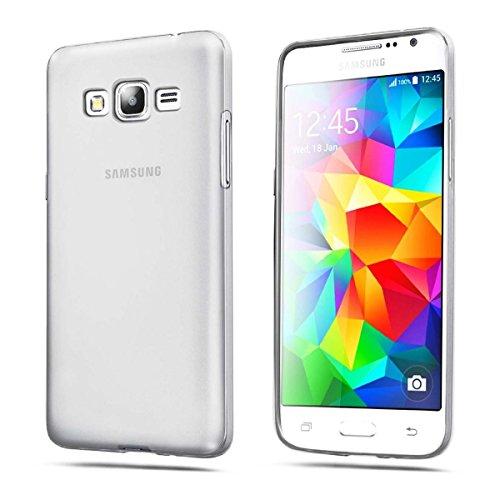REY Funda Carcasa Gel Transparente para Samsung Galaxy Grand Prime Ultra Fina 0,33mm, Silicona TPU de Alta Resistencia y Flexibilidad