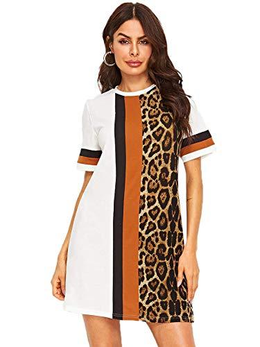 Floerns Women's Short Sleeve Color Block Leopard Print Tunic Dress A Multi White M