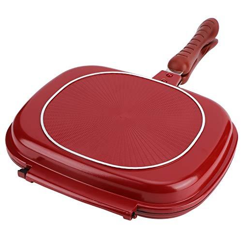 Poêle à Frire Double Face 28cm Poêle Carrée Rouge En Alliage D'aluminium Omelette Pan Maison Cuisine Fournitures De Cuisine